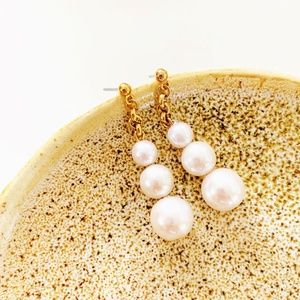 Imitation Pearl Stacked Dangly Earrings